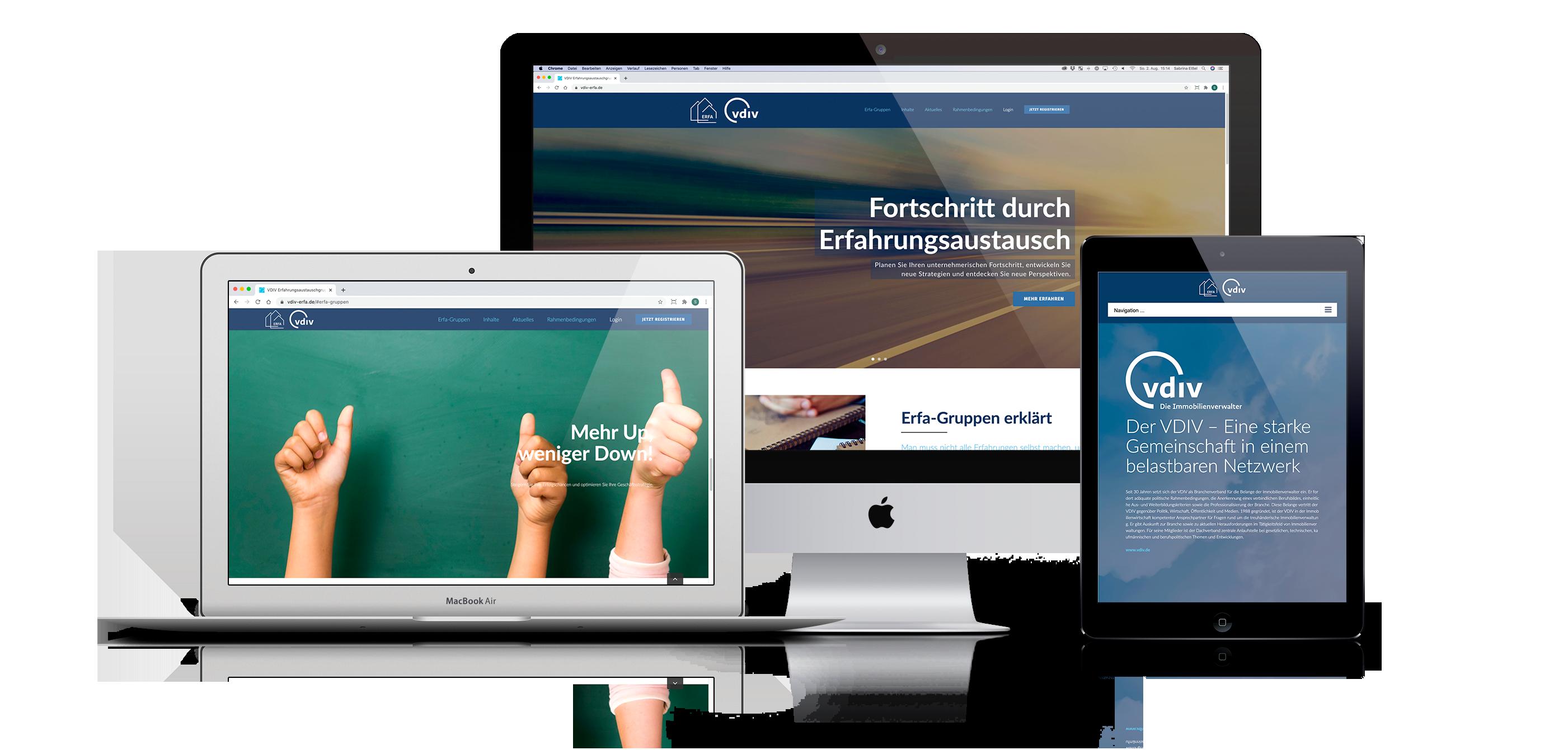Entwicklung Kommunikationskonzept für VDIV Erfahrungsaustauschgruppe. Gestaltung und Umsetzung einer responsive Webseite.