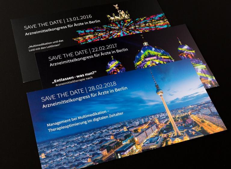Gestaltung von Einladungskarten. Flyergestaltung für Save The Date Karten der AOK.