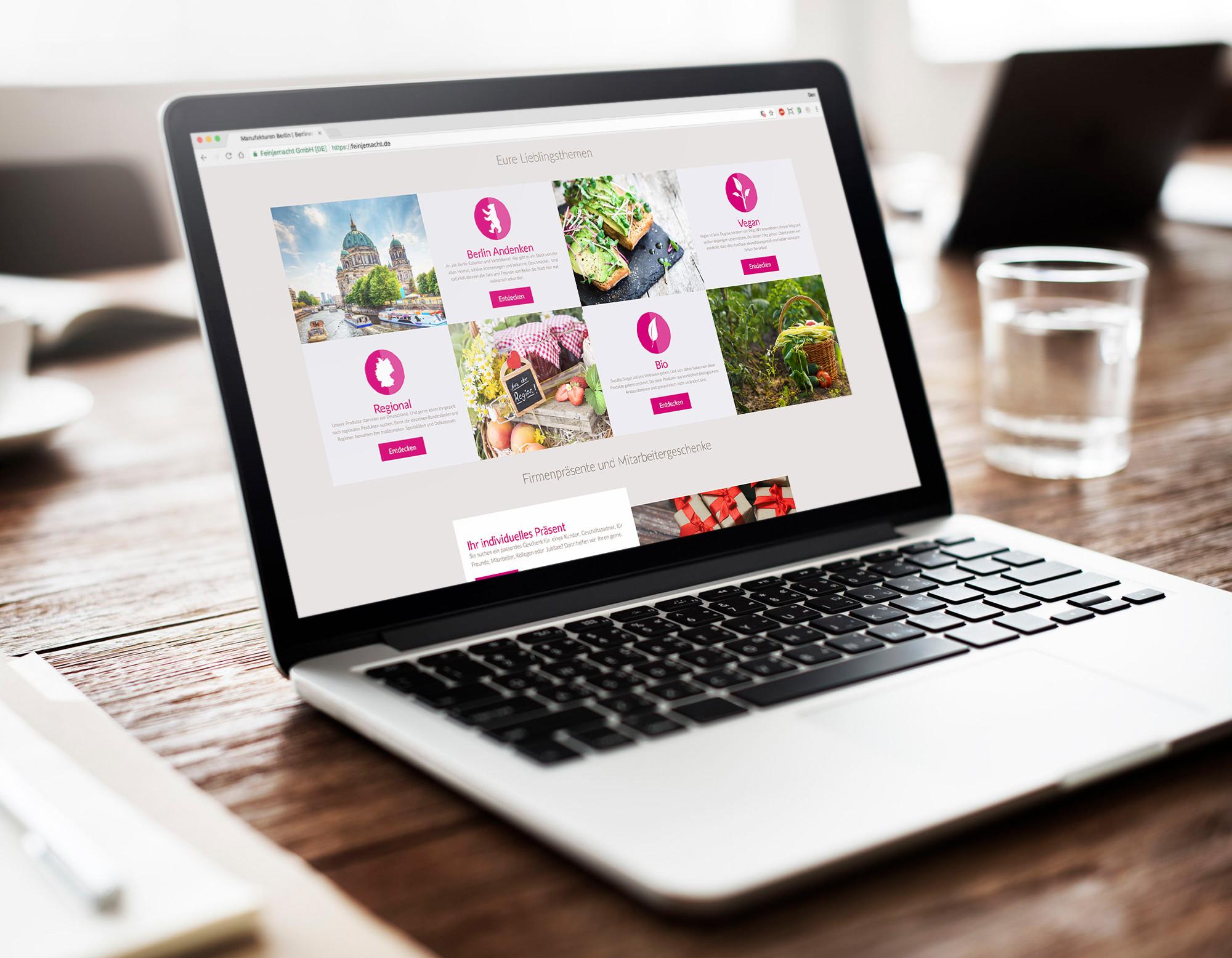 Webdesign in der Rubrik Lieblingsthemen der Webseite und des Onlineshops