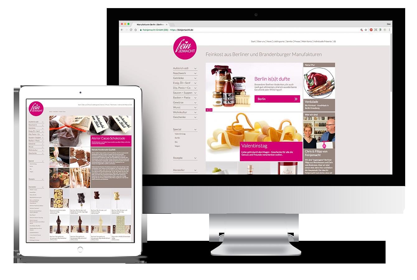Responsive Webseite und Shop auf iPad und iMac. UX/UI Design abgestimmt auf alle mobilen Endgeräte.